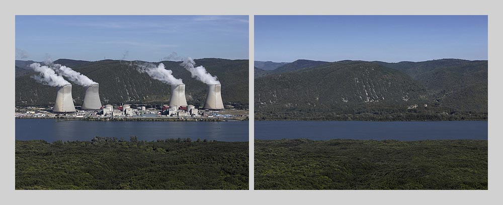 Nuclear power plant - Cruas - France > diptych 47 x 128 inch > © 2016